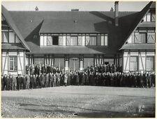 photo ancienne Usine de Kembs .écluse. personnel.hôtel du Rhin. Ste-Barbe 1931