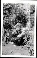 VINTAGE PHOTOGRAPH '37 LADY WOMAN GIRL HAT DRESS FASHION DOG PUPPY PUP OLD PHOTO