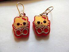"Modern Classic ""Hello Kitty"" Gold Plate & Ruby Eyes Earrings"