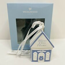 Wedgwood Blue White Jasperware Bless This Home Ornament with Box House Warming