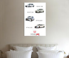Honda Civic Type R Collection - 30x20 pulgadas lienzo enmarcado cuadro EK9 EP3 FN2 FK2