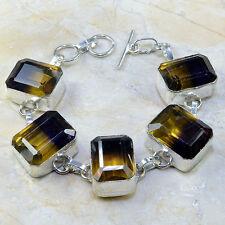 "Handmade Ametrine Crystal Gemstone 925 Sterling Silver Bracelet 8"" #D95264"