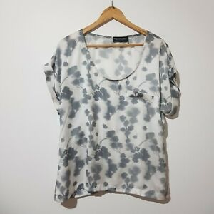 Philosophy Size 18 White Grey Short Sleeve Blouse Top