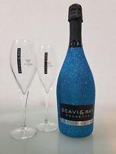 Scavi & Ray Prosecco 0,75 ltr. Bling Edition Glitzer Blau mit 2 Prosecco Gläser