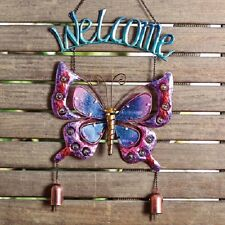 Welcome BUTTERFLY Windchime Bell Stained Glass Home Garden Decor ornament