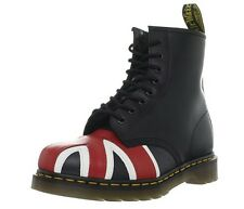 Dr Martens Union Jack Leather Boots 8 Eye Black 10950 Women's US 5 NEW $140