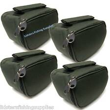 4 x New Deluxe Green Reel Cases Bags Carp Pike Fishing Holds up to 070 Size