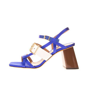RRP €645 MARNI Satin Slingback Sandals EU37.5 UK4.5 US7.5 Two Tone Made in Italy