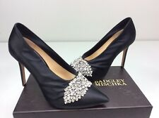 Badgley Mischka Vanilla Pump Heels Black Satin Size 8 M Crystal Bridal wedding