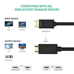Ugreen DisplayPort DP to HDMI Cable Male to Male GOLD PLATED Full 4K UHD - 1M