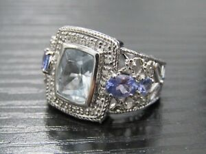 Diamond Accent 14k White Gold Floral Cut Amethyst Topaz Ring Size 7.5