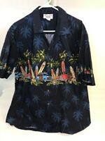 Vtg Pacific Legend Hawaiian Blue Shirt Sz XL USA Hawaii Aloha Hot Rod Surfboard