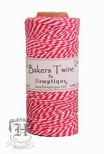 Hemptique Cotton Baker's Twine Red & White 2-Ply 1mm 410 ft 125 m
