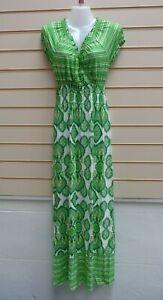 Bodyflirt Size 6 Green Print Dress Jersey Casual Summer Maxi BNWOT  G035