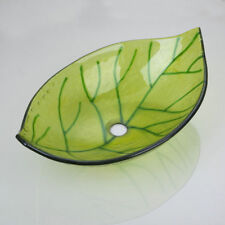 Green Leaves Bathroom Tempered Glass Vessel Basin Sink without Faucet