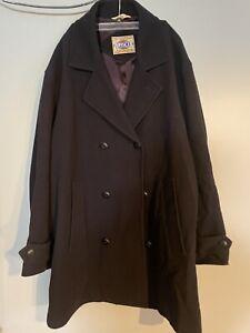 Vintage Men's Basco Navy  Pea Coat Lambswool Cashmere Blend Size L