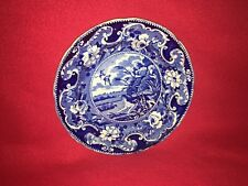 Historical Staffordshire Dark Blue Plate Woods Zoological  Duck Hunting Ca. 1825