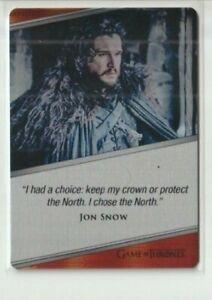 Game of Thrones Iron Anniversary Series 1 Kit Harington Jon Snow Metal Card E3