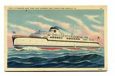 Vintage Postcard SS PRINCESS ANNE  Ferry Boat Cape Charles to Norfolk VA