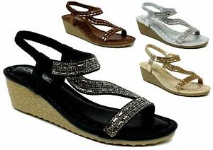 New Summer Wedge Strappy Comfy Casual Open Toe Ladies Fashion Sandal UK Size 3-8