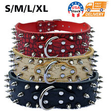 Metal Spiked Studded Rivet PU Leather Dog Collar For Large Breeds