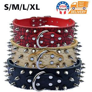 Metal Spiked Studded Rivet PU Leather Dog Collar For Large Breeds