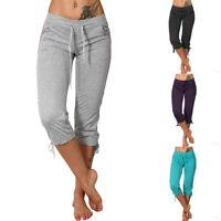 Women Slim Capri Pants Solid Mid Rise Pockets Drawstring Cropped Trousers New