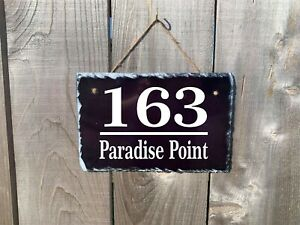 Personalized Home Address Plaque Made with Slate Custom House Number Sign sl02