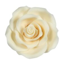 Culpitt IVORY WHITE 50mm LRG Edible Sugar Soft Roses Wedding Cup Cake Decoration