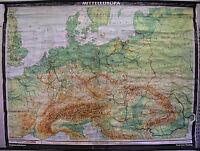 Schulwandkarte schöne alte Mitteleuropakarte Deutschland 235x175cm vintage ~1955
