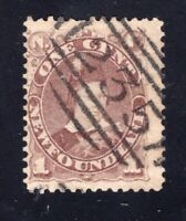 Newfoudland 1896 Sc #43 1c Brown PRINCE OF WALES w/235 NUMERAL CANCEL St John's