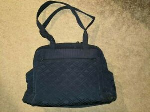 VERA BRADLEY~SOLID NAVY BLUE QUILTED LARGE DIAPER SHOULDER BAG~CHANGING PAD~BABY