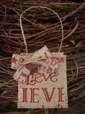 Primitive Christmas Rusty Barn Star Believe Burlap Ornament Gift Card Holder S/3