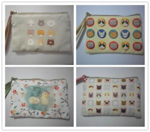 Cute Cotton Canvas Small Zipper Wallet Bag Purse Coin Key Phone Holder Girl-Cat2