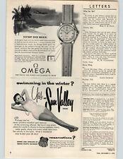 1955 Paper Ad Seamaster Omega Watch Date Calendar Self Winding Watertight
