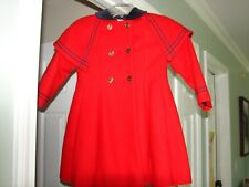 ROTHSCHLDS GIRLS SIZE 5 GORGEOUS BLUE/RED SAILOR TYPE COAT GREAT SHAP