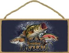 Novelty-Wood Sign Fishing plaque--I Eat Therefore I Fish