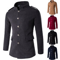 Men's Stylish Slim Fit Winter Warm Long Jacket Overcoat Trench Pea Coat Jacket L