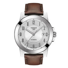 New Tissot Gentleman Automatic Mens Brown Leather Strap Watch T0984071603200