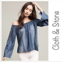 Cloth & Stone Anthropologie Womens Small Off Shoulder Blue Chambray Top