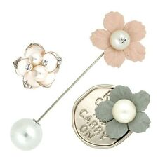 3 pieces Chic Brooch Pin Collar Clip Crystal Flower Leaf Pearl Gift Party P31