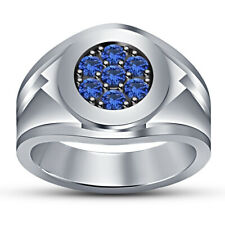 14K White Gold Over Round Blue Sapphire Wedding Band Engagement Men's Pinky Ring