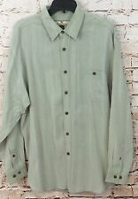 Tommy Bahama shirt mens medium button up 100% silk long sleeve green stripe J2