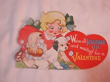 VALENTINE MECHANICAL CARD WITH GIRL GIVING DOG A BATH VINTAGE        T*