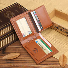 Men's Brown Leather Slim Wallet Coin Pouch Small Credit Card Holder
