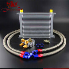 30 Row Thermostat Adaptor Engine Racing Oil Cooler Kit For Car/Truck Silver
