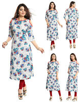 UK STOCK WOMEN FASHION INDIAN KURTA KURTI TUNIC TOP SHIRT SC4001 Blue 3/4 Sleeve