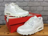NIKE LADIES UK 3 EU 36 AIR MAX 90 PREMIUM WHITE PATENT TRAINERS