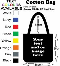 Cotton Black Bag customised with your text and or full colour photo printed