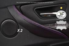 Cuciture Viola 2X maniglia porta posteriore in pelle trim copre si adatta BMW F30 2012-2017